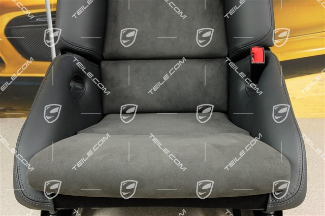 Bucket seat, collapsible, leather/Alcantara Black with Porsche crest, right seat, R