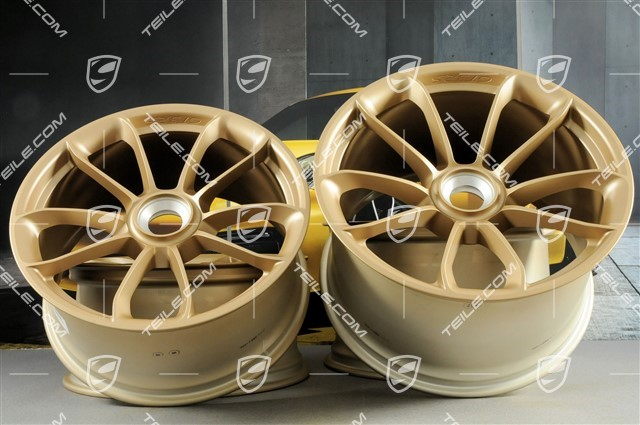 "20""+ 21"" GT3RS wheel rim set, with GT3RS logo, 9,5J x 20 ET50 + 12,5J x 21 ET48, Aurum Metallic"