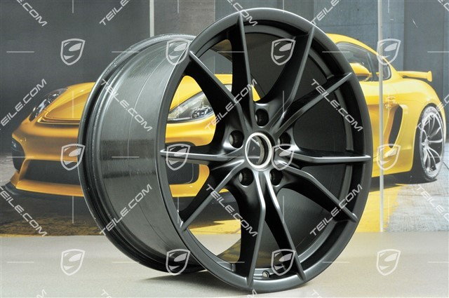 20-inch wheel rim set Carrera S IV, rims 8,5 J x 20 ET49 + 11,5 J x 20 ET56, black satin matt