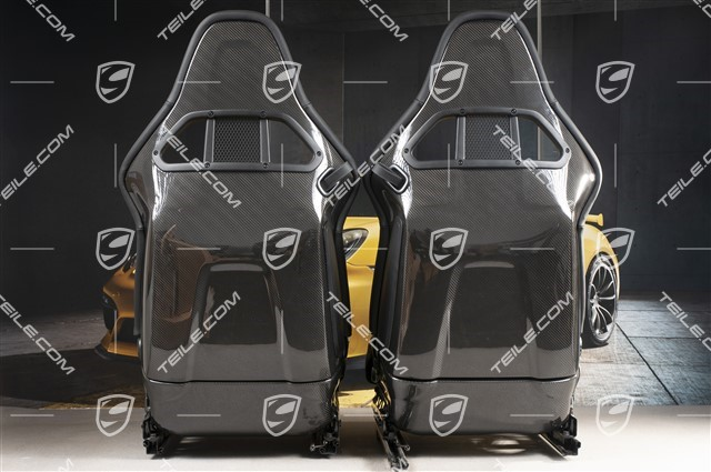 Bucket seats, collapsible, leather Black, L+R