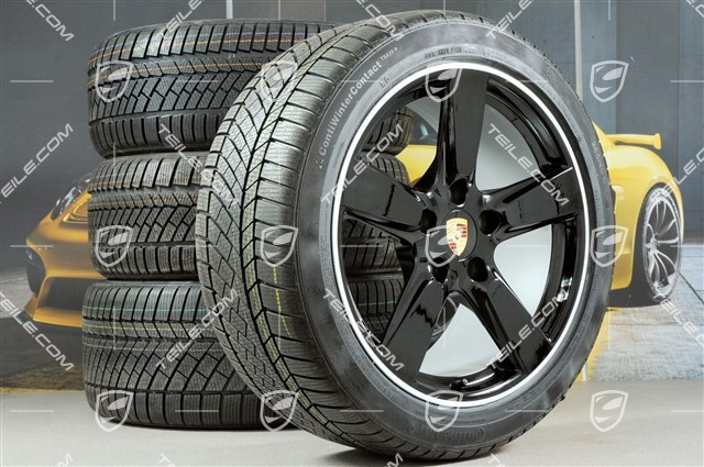 "19"" winter wheel set Cayman S, 8J x 19 ET57 + 9,5J x 19 ET45, winter tyres Continental WinterContact TS 830P 235/40 R19 + 265/40 R19, without TPMS, black"