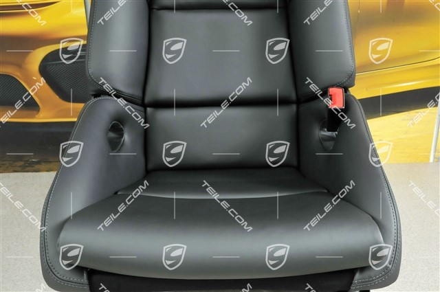Bucket seat, collapsible, leather Black with Porsche crest, right seat, R