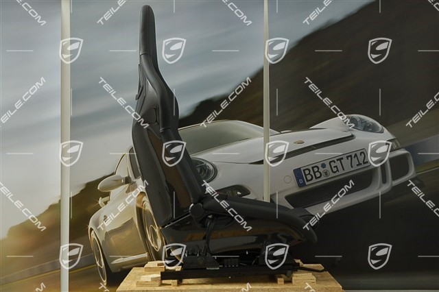 Sport bucket seat, upholstery, middle section / backrest, leather, black L=R