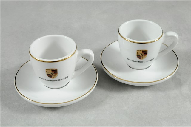 Crest Espresso Cups Set of 2 white/gold