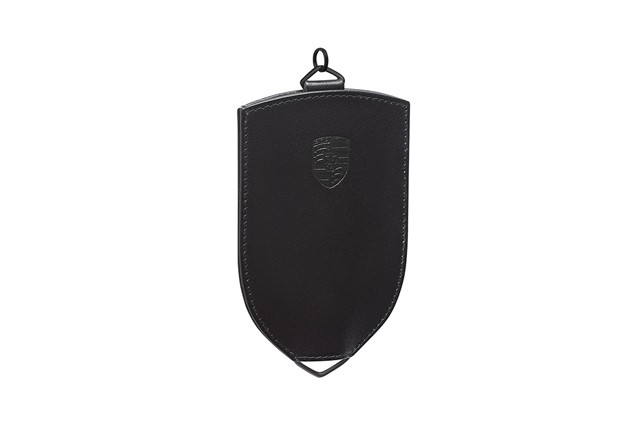 Key Pouch, black, leather, with Porsche crest/logo