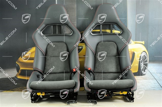 Bucket seat, collapsible, leather/Alcantara Black, seam in carmine red, with Porsche crest, left seat, set L+R