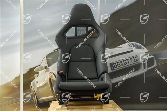Bucket seat, collapsible, leather Black with Porsche crest, left seat, L