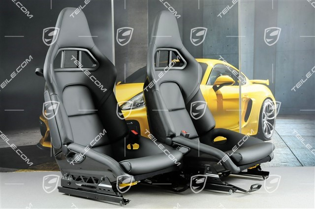 Bucket seats, collapsible, heating, leather, black, very good condition, L+R
