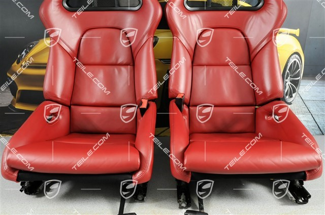 Bucket seats, collapsible, heating, leather, Bordeaux Red, set L+R