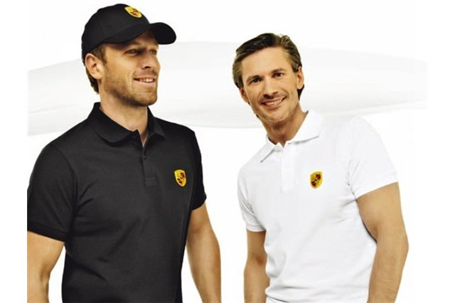 Porsche crest polo shirt, white,  M 48/50
