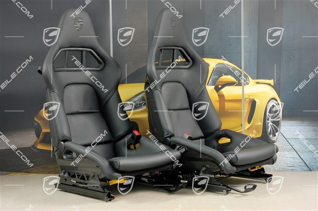 Bucket seats, collapsible, leather Black with Porsche crest, L+R