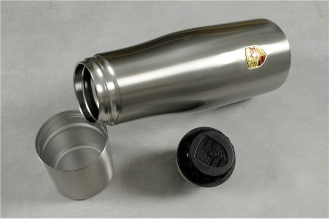 Thermal Bottle, silver, with Porsche crest/logo, ca. 1 l